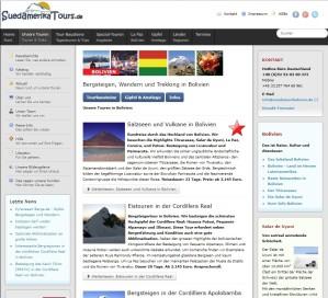Die Homepage von SuedamerikaTours.de